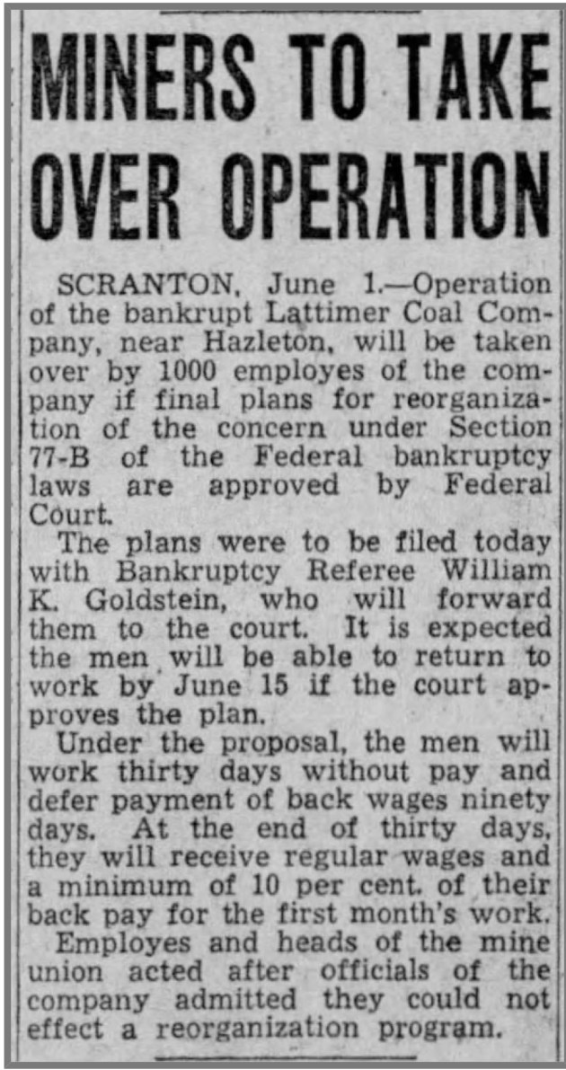 An article from the Evening Journal (Harrisburg) from 1 June 1938 reporting on employee ownership of the Lattimer Colliery
